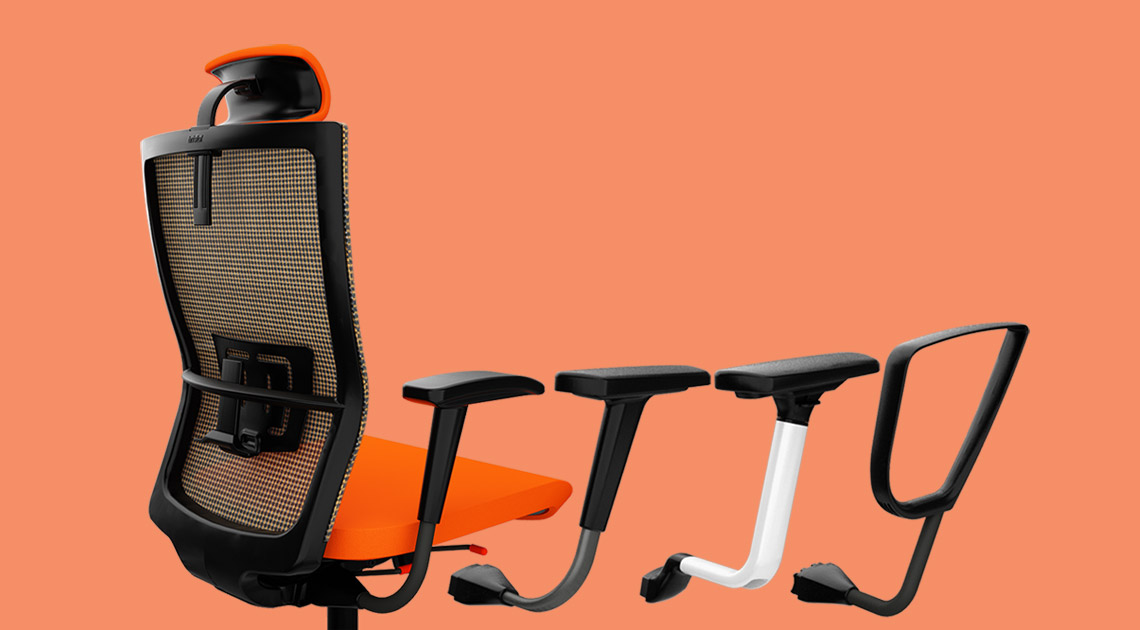 Back view of Saya office chair in orange mesh and seat with different arm options.